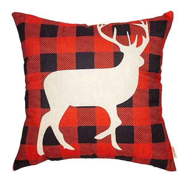 Reindeer Farmhouse Linen Throw Pillow Case
