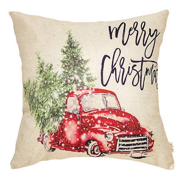 Retro Red Truck Pillow