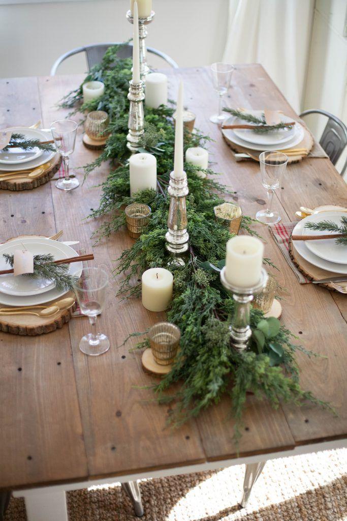 Rustic Evergreen Christmas Tablescape via laurenmcbrideblog