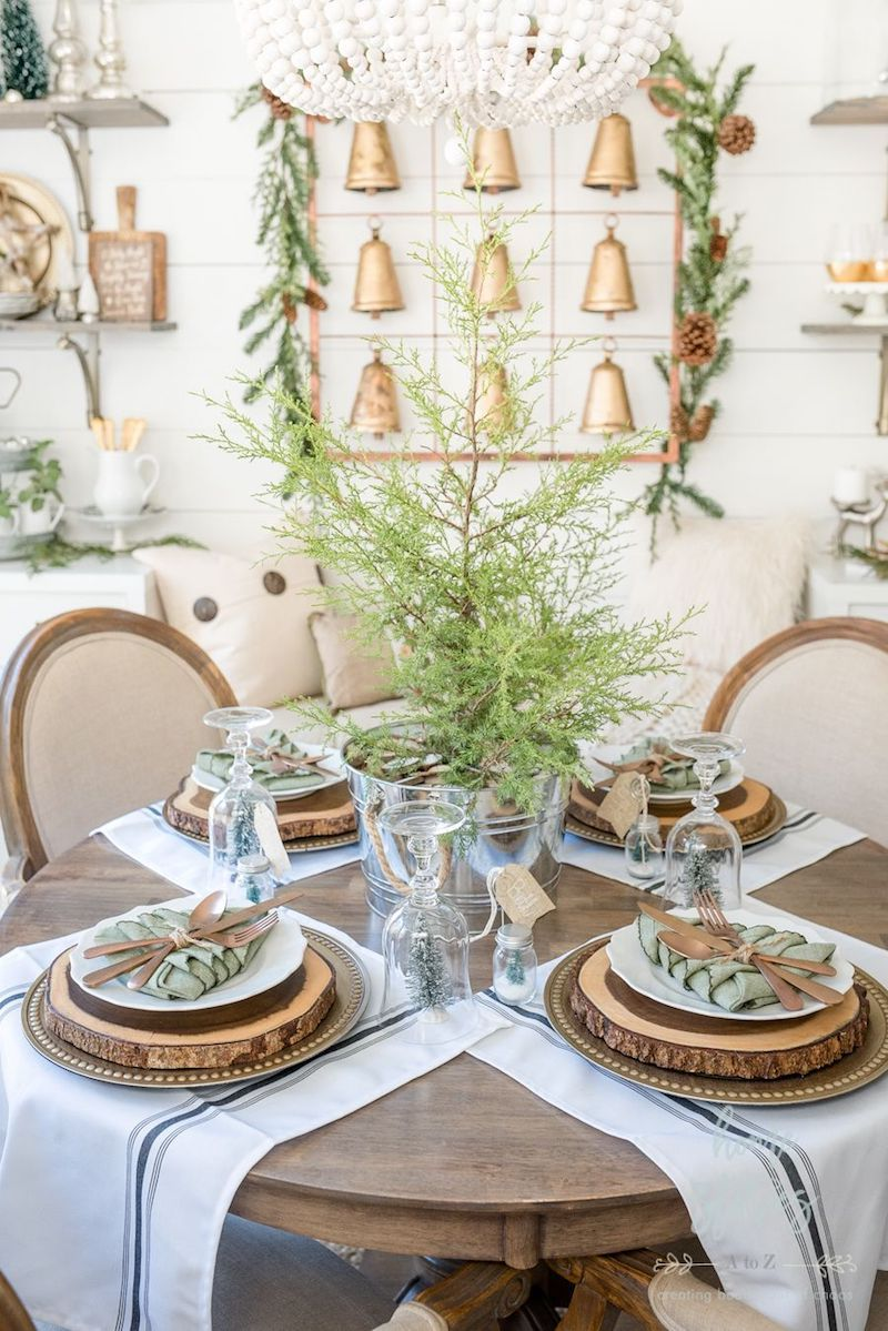 Rustic brown and green Christmas Tablescape via Home Stories A to Z