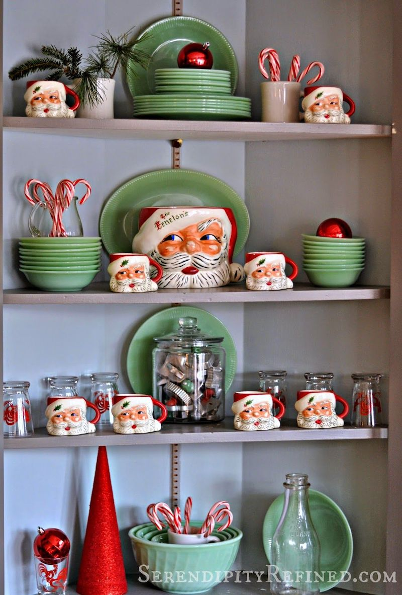 Santa Clause Mugs and Green Plates via serendipityrefined