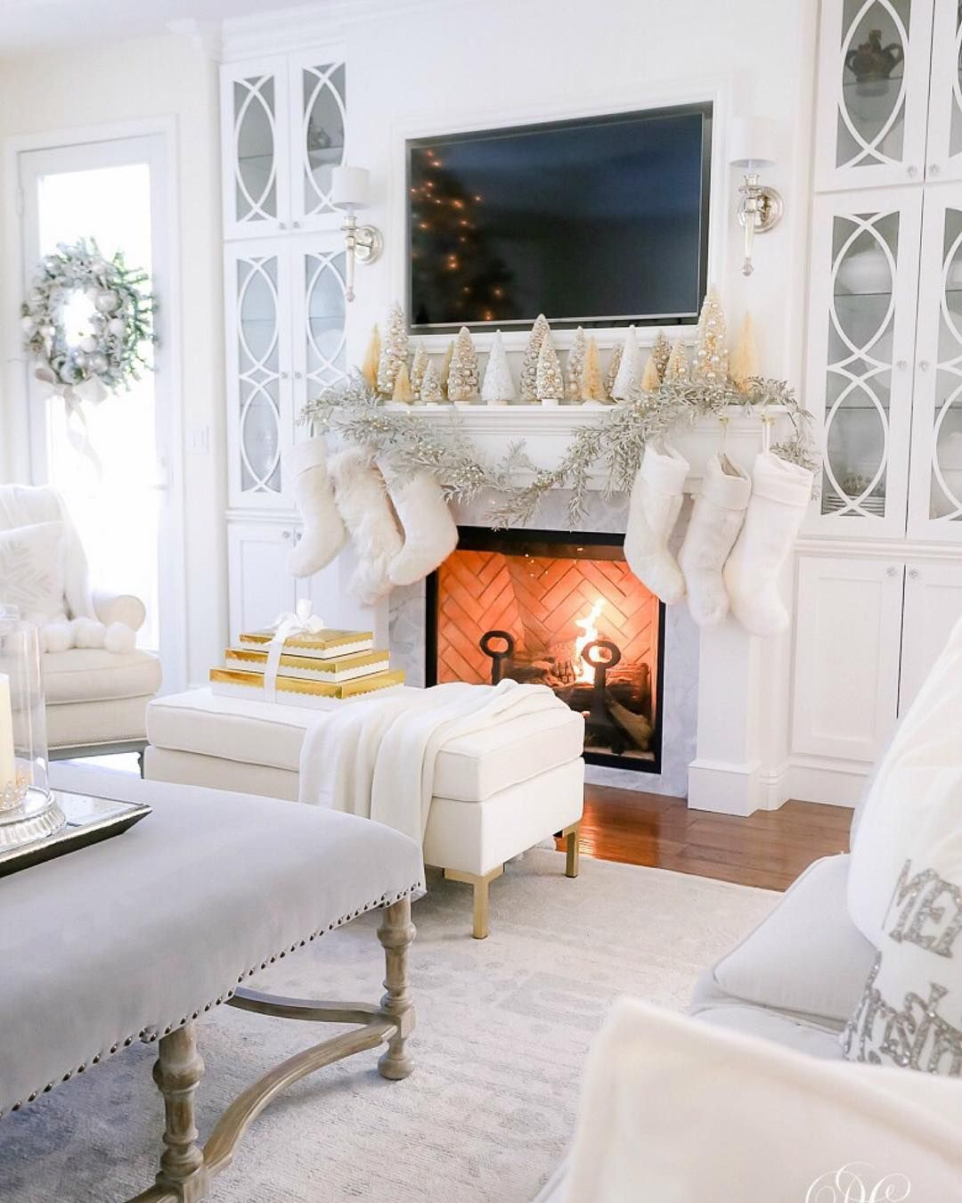 Silver and White Christmas Mantel via @randigarrettdesign
