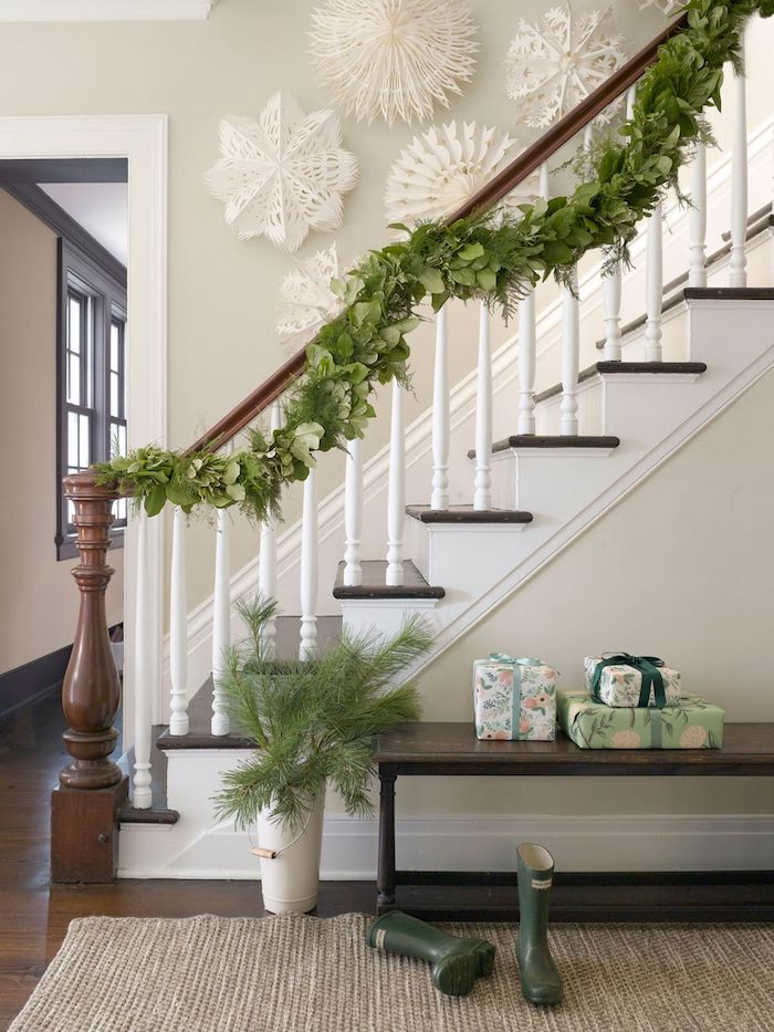 Snowflake Staircase Wall Cut Outs via CountryLiving