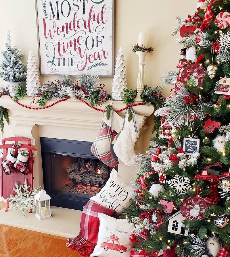 Traditional Christmas Mantel Decor via @blessed_at_home