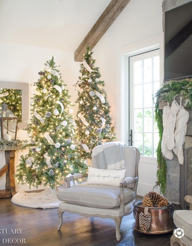 Two Christmas Trees in the Living Room via @sanctuaryhomedecor