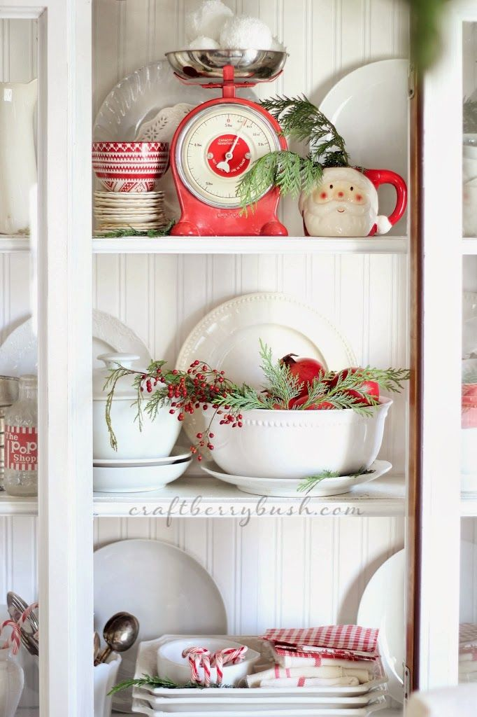 Vintage Farmhouse Christmas Hutch Decor via craftberrybush