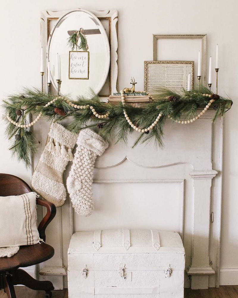 Vintage White and Green Christmas Mantel via @sarahjaneinteriors