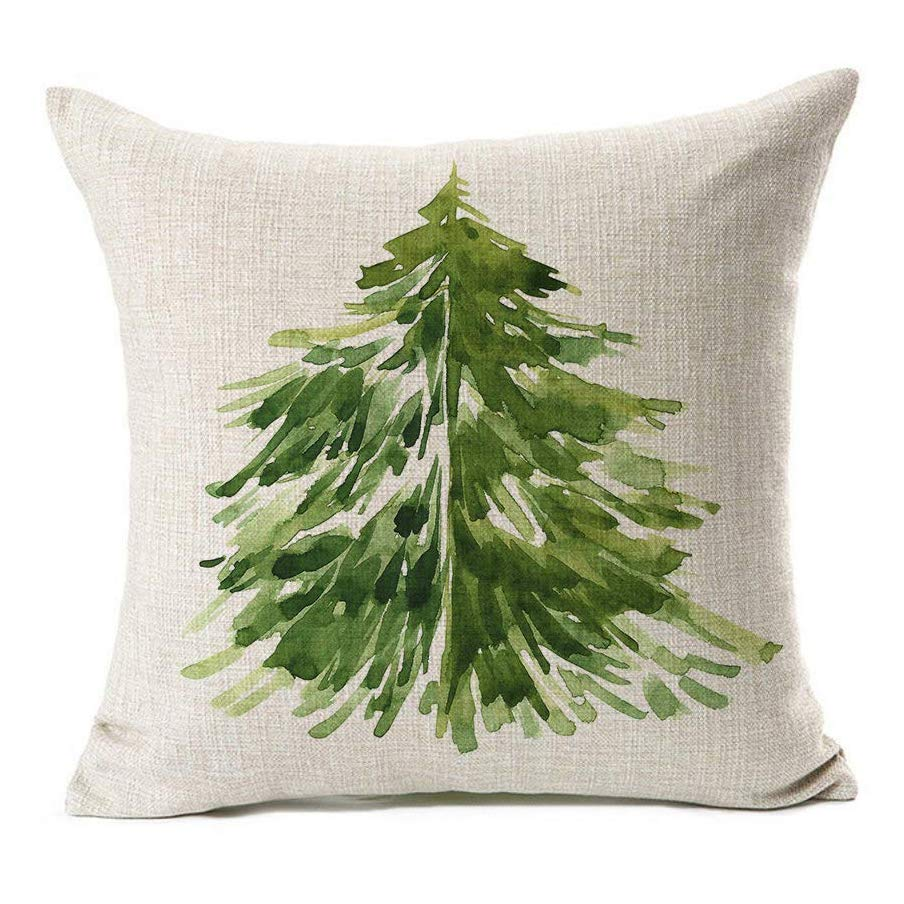 Watercolor Christmas Tree Throw Pillow