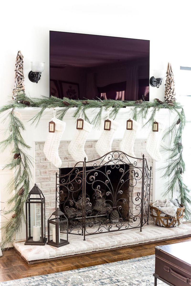White Cableknit Stockings Christmas Mantel via BlesserHouse