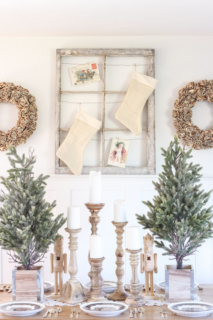 White Farmhouse Christmas Dining Room via lovegrowswild