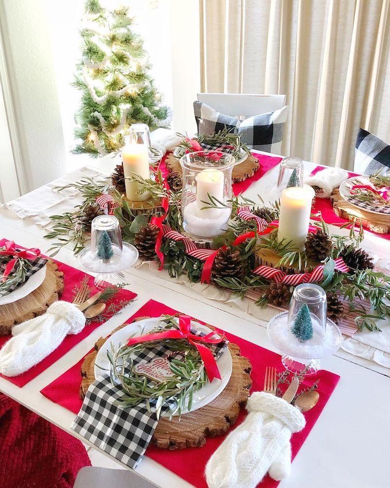 White Mitten Utensil Holders Christmas Tablescape via @cherished_treasures_