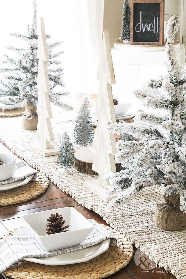 White Wood and Flocked Christmas Tree Christmas Tablescape via thriftyandchic