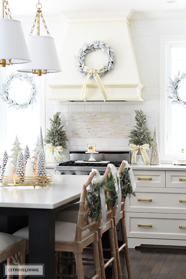 White and Gold Christmas Kitchen Decor via citrineliving