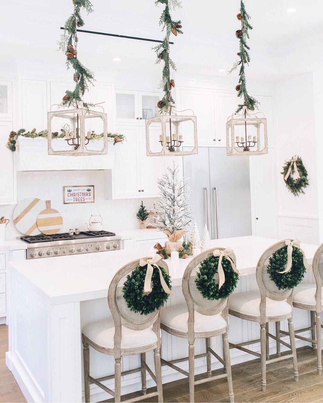 Wreaths on the back of Kitchen Bar chairs via @alifedotowsky