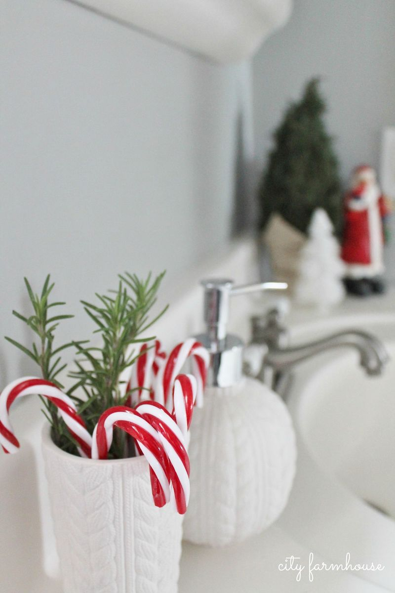 Candy Cane Bathroom Decor via cityfarmhouse #ChristmasDecor #ChristmasBathroom