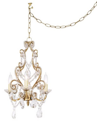 Antique Gold with Clear Beads Swag Plug-In Chandelier $159