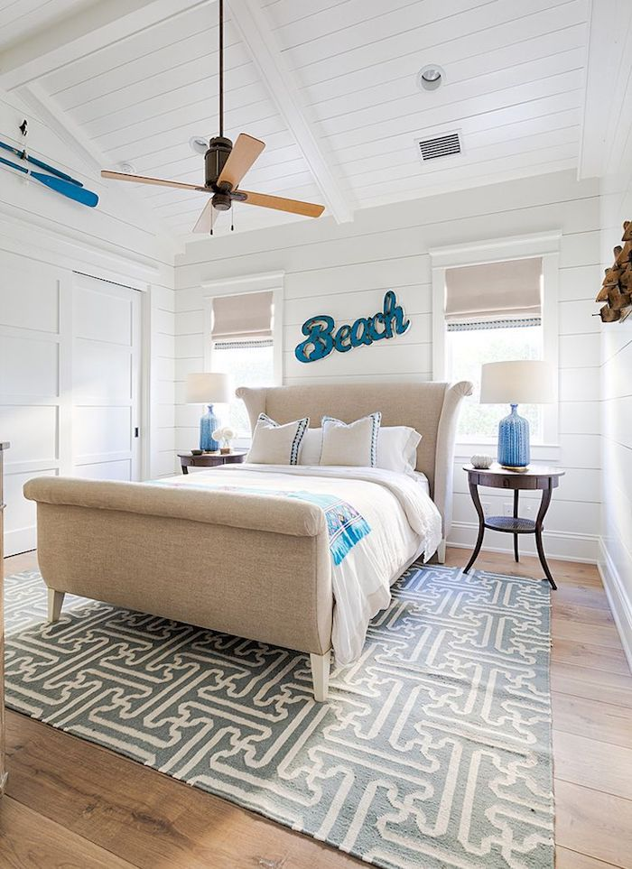 Beach Bedroom with Shiplap Walls via Carrie Brigham Design