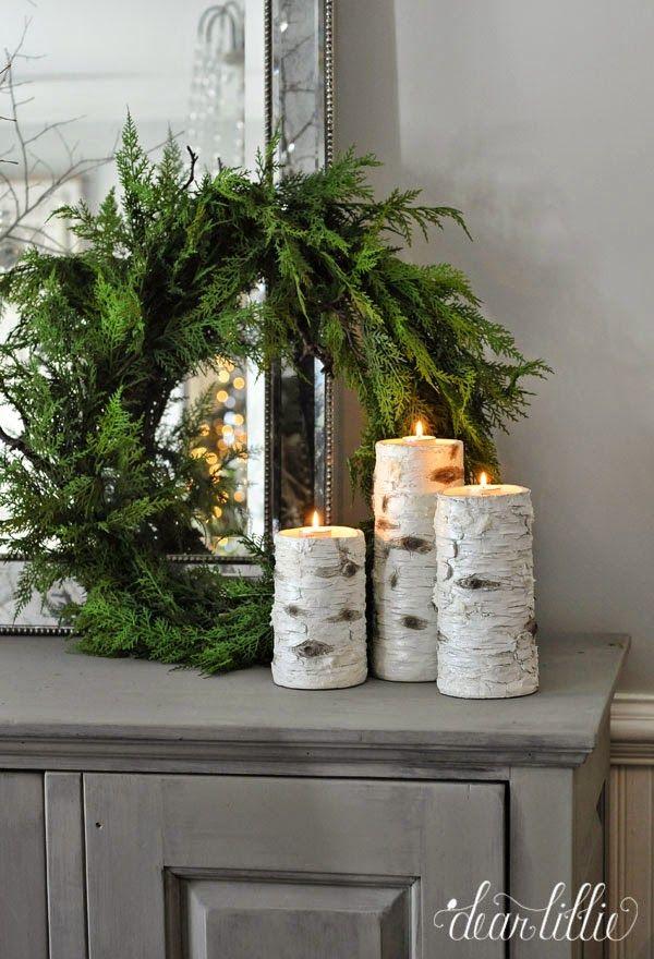 Birchwood candles and evergreen wreaths via dearlillieblog