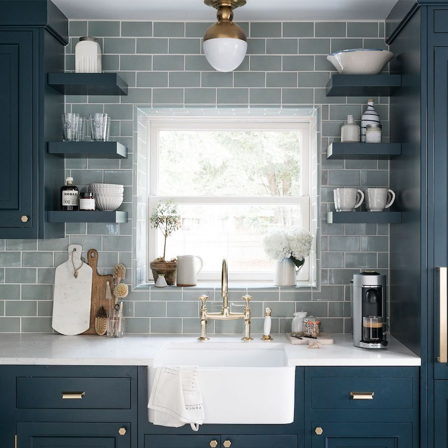 Blue subway tile in blue coastal kitchen