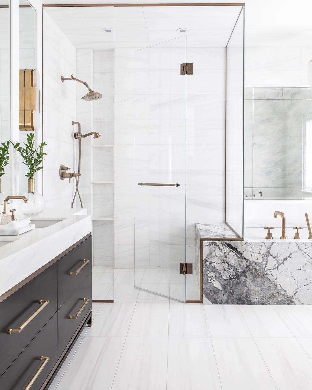 Brass Bathroom Hardware with Black Cabinet Vanity