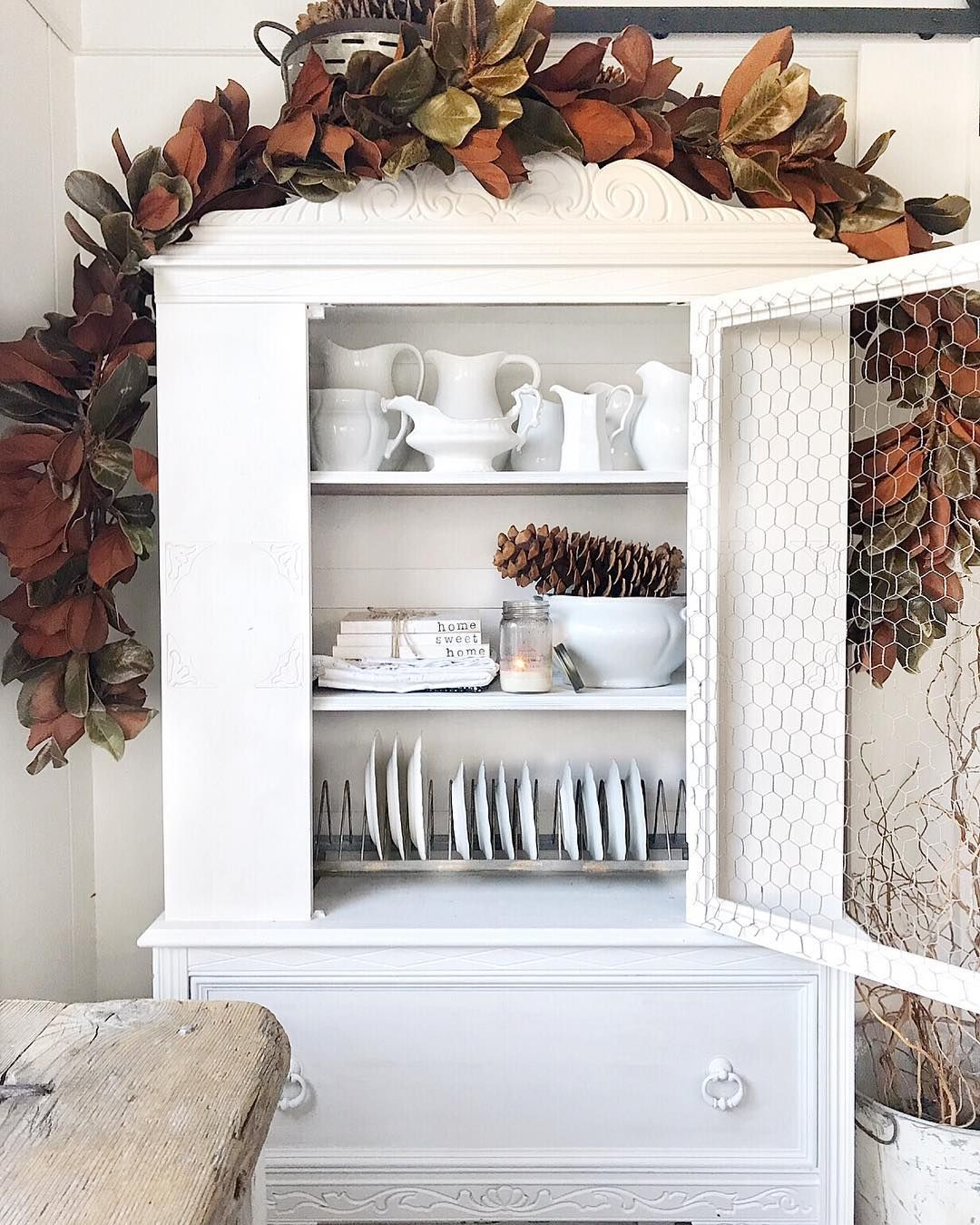 Chicken Wire Dining Room Hutch Door via @toni_marianna