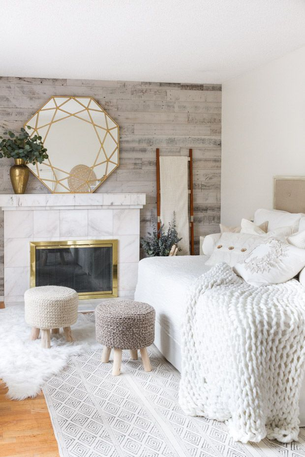 Chunky Knit Blanket on the Bed and Knitted Stools via zevyjoy