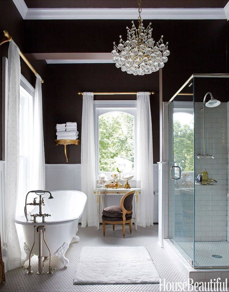 Crystall Ball Chandelier in Bathroom designed by Annie Brahler via HouseBeautiful