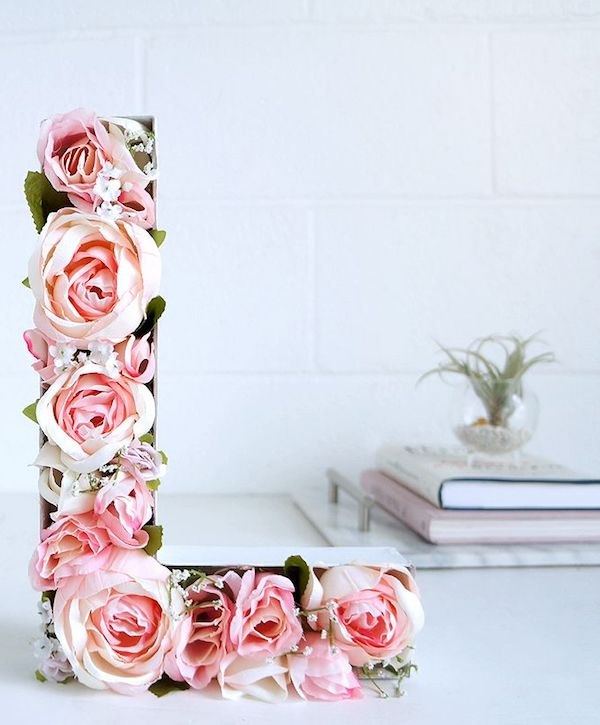 DIY Blooming Monogram Letter with Roses for Valentine's Day Decor via lulus