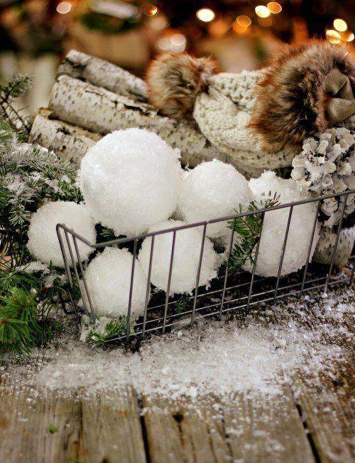 DIY Faux Snowball Decor via magnolia