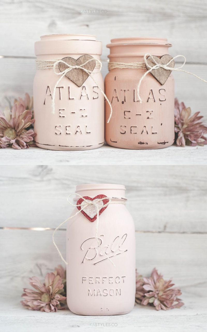 DIY Latex Painted Mason Jars for Valentine's Day Decor via kastyles