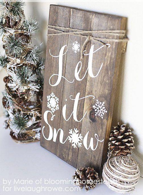 DIY Let it Snow Wood Sign Decor via livelaughrowe