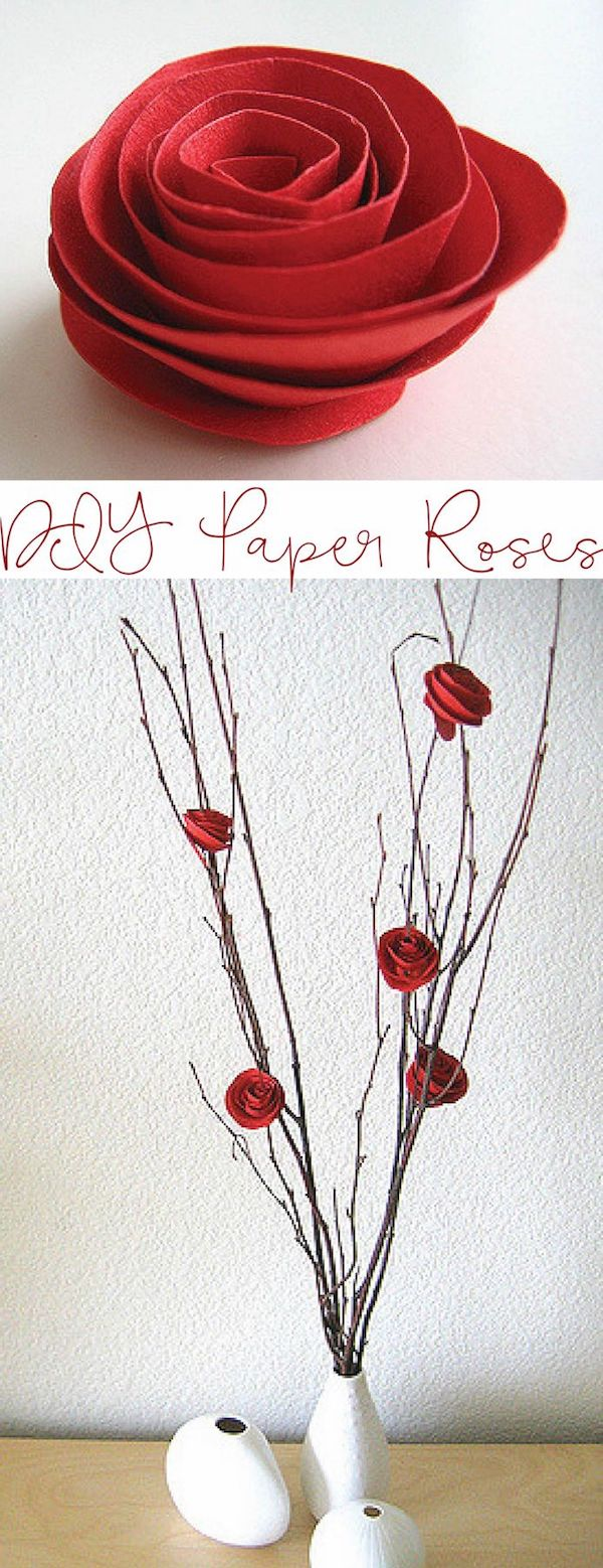 DIY Paper Rose Decor for Valentine's Day via dozidesign