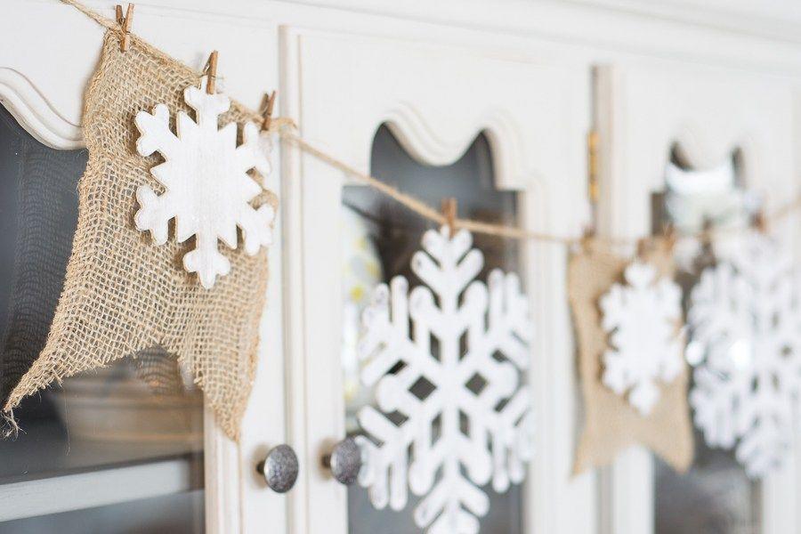 DIY Rustic Snowflake Banner via northcountrynest