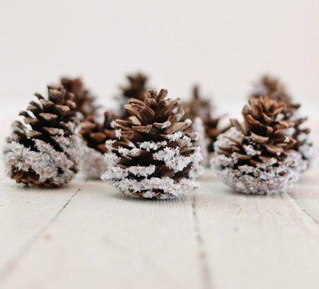 DIY Snow-dipped Pinecones via ellaclaireinspired