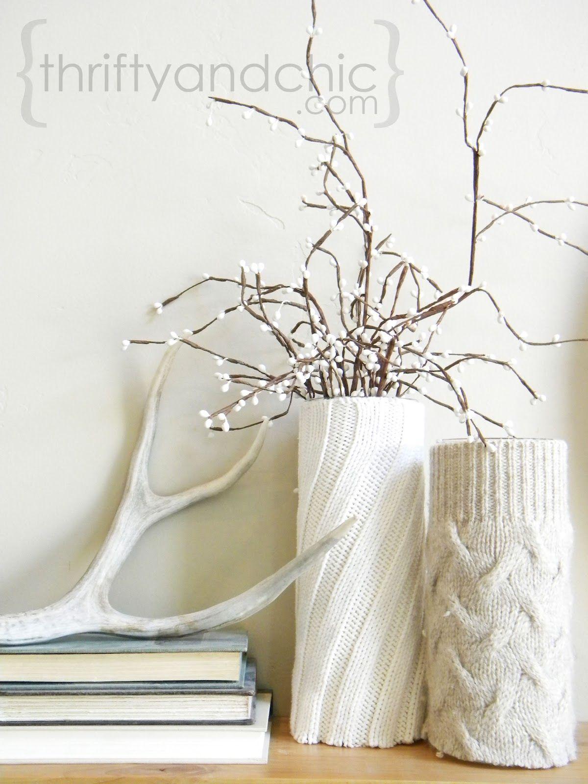 DIY Sweater Vase Decor via thriftyandchic