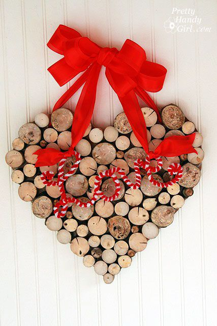 DIY Valentine's Day Tree Branch Wall Hanger via prettyhandygirl