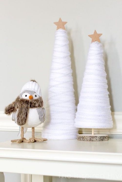 DIY Winter Yarn Tree via theinspiredhive