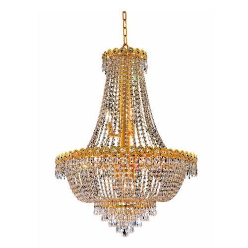 Elegant 12-Light, Two-Tier Crystal Chandelier, Finished in Gold $618