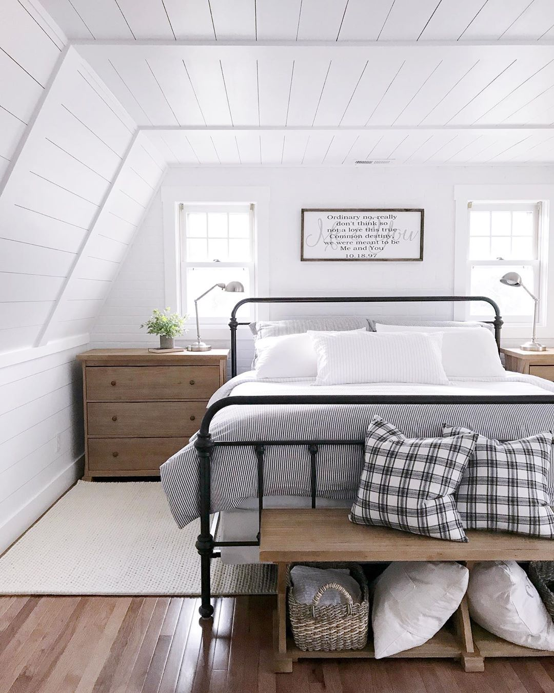 Farmhouse Style Bedroom with Wrought Iron Headboard via @angelarose_diyhome