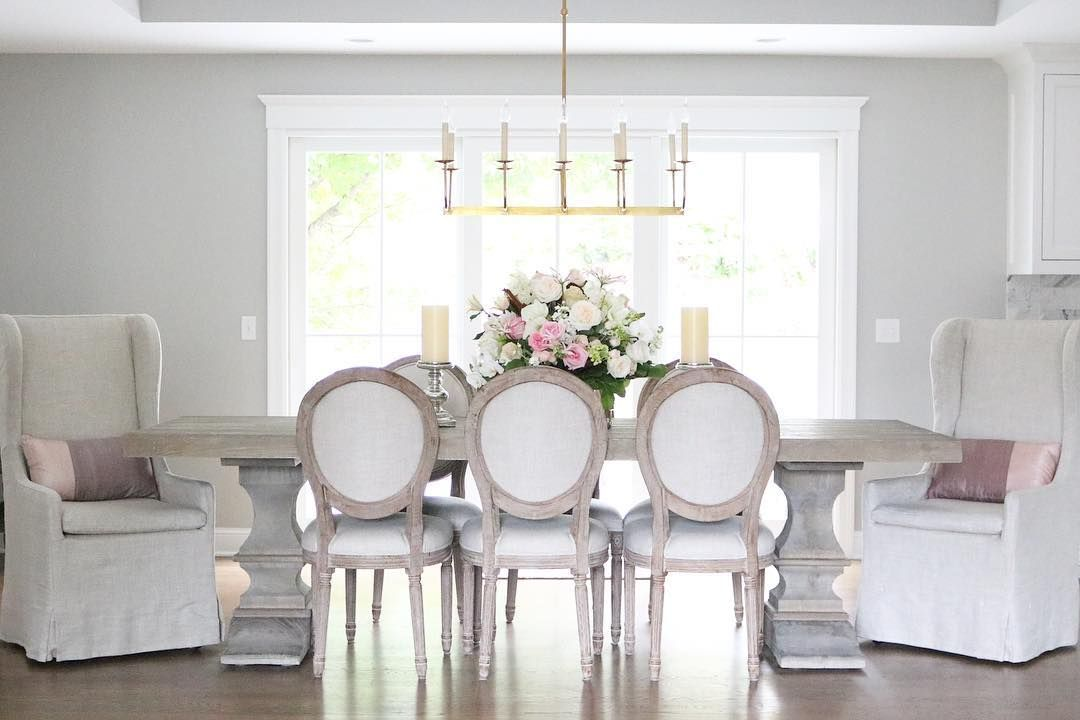 Feminine French Country Dining Room with Roundback chairs