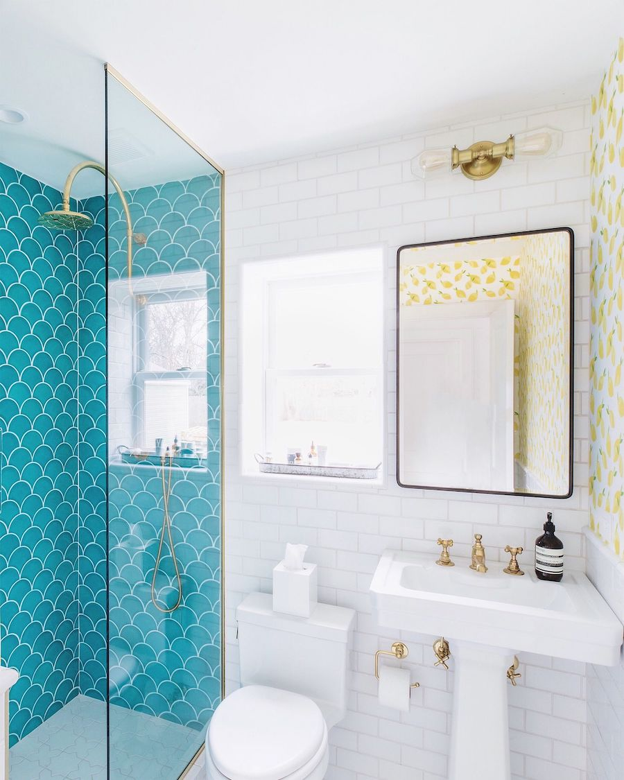 Fish scale tile turquoise bathroom beach home