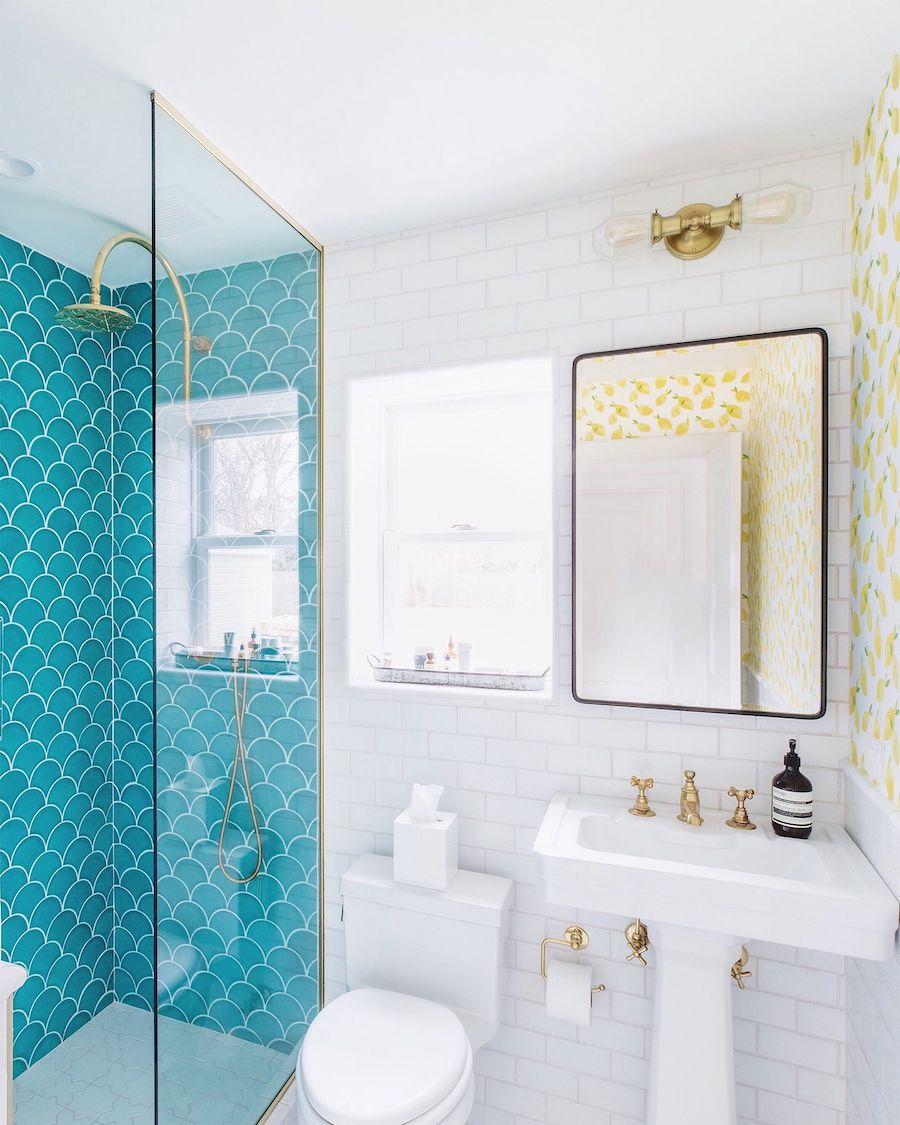 Fish scale tile turquoise bathroom beach home