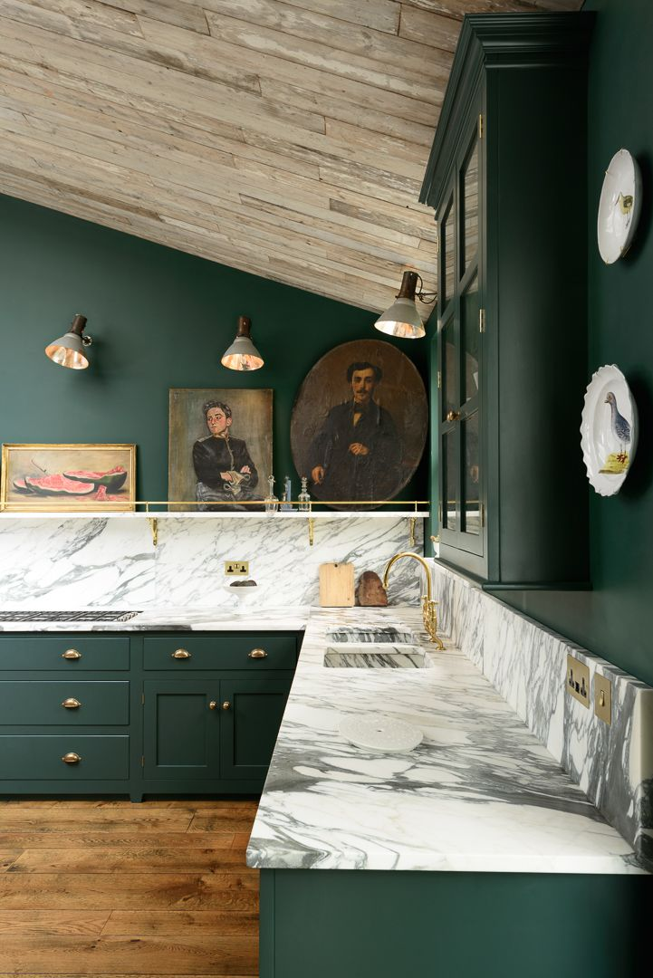 Green Kitchen Cabinets via DeVol Kitchens