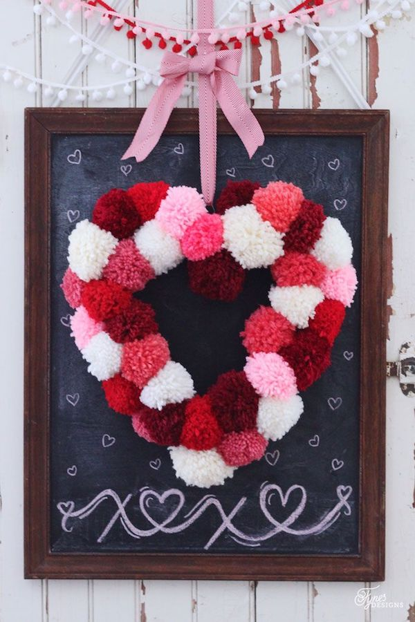 Heart Shaped Pom Pom Wreath DIY via fynesdesigns