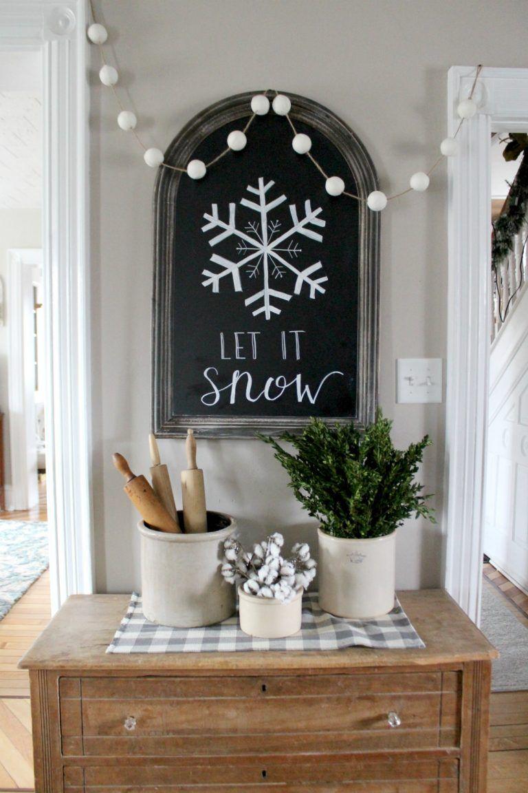 Let it Snow Chalkboard Decor via christinamariablog