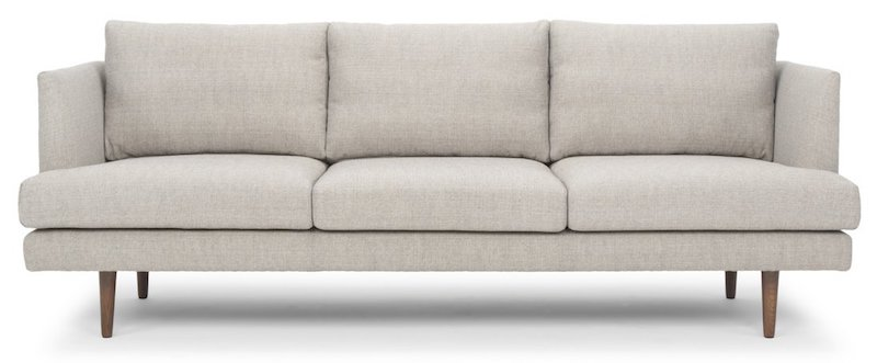 Light Gray Mid Century Sofa with Wood Legs