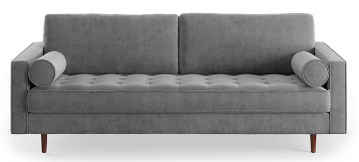 Light Gray Tufted Sofa with Bolster Pillows