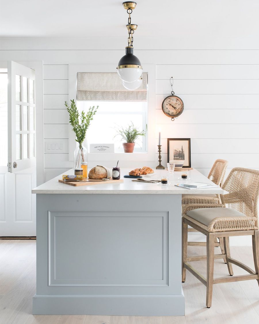 Light blue kitchen island decor in a NY beach home