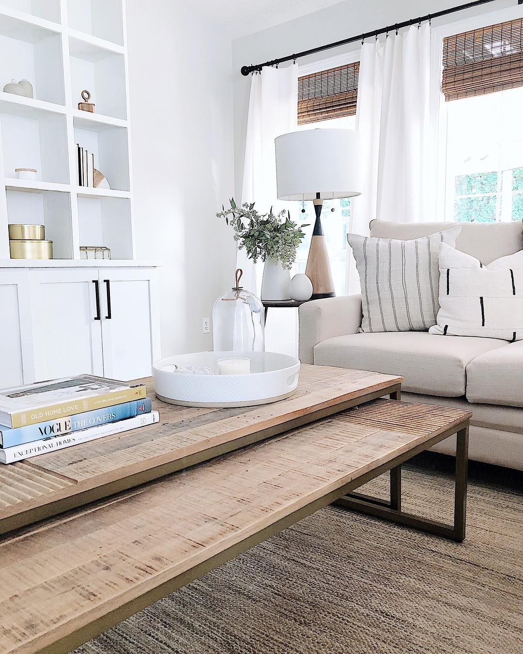 Mango wood coffee table in Neutral toned living room