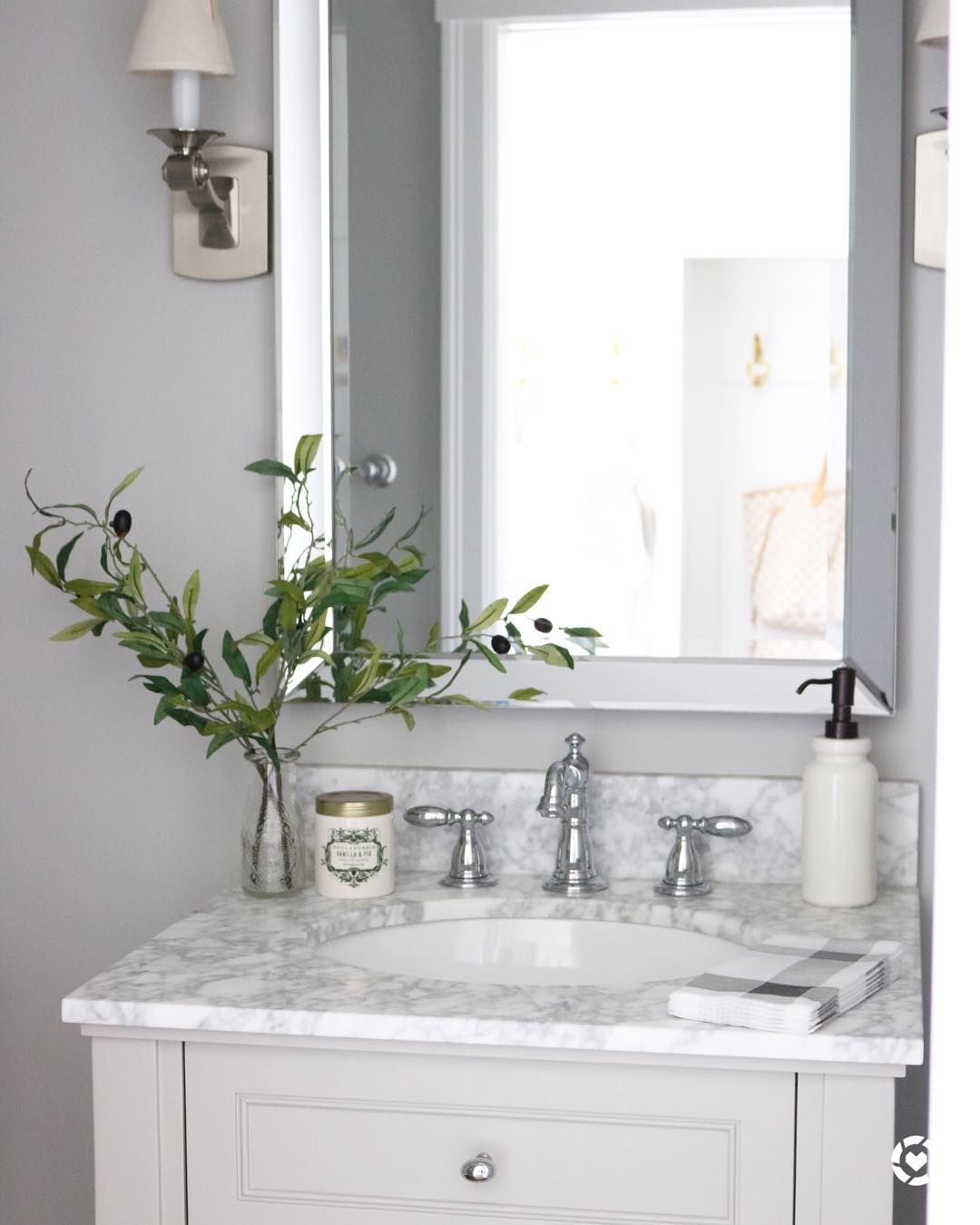 Marble bathroom vanity top with silver faucet